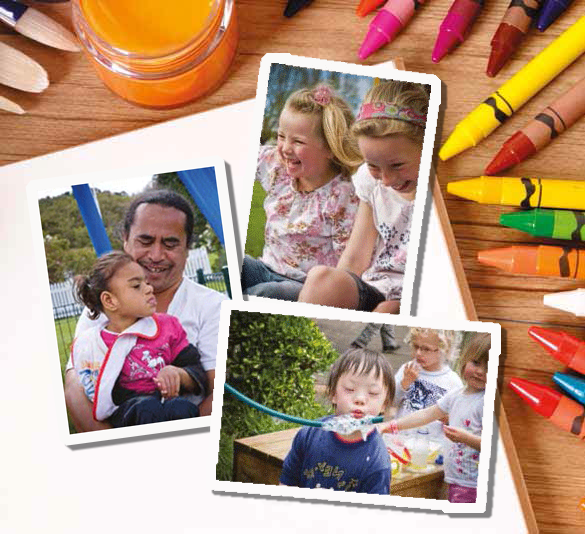 A snapshot of the cover of the book In the Know. This has crayons, paints and paintbrushes with a plain notebook in the background. In the foreground are three photos of children, with white borders around them.